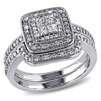 Picture of 1/3 CT Princess and Round Diamonds Silver Bridal Ring Set - 7