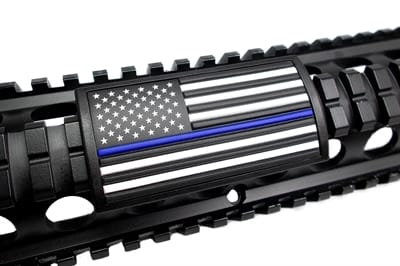 Picture of U.S. Flag Blue Line - Black - Stars Left - PVC070BLF-1