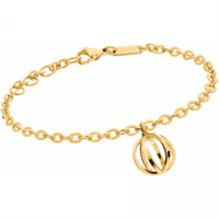 Picture of Show Bracelet Stainless Steel With Yellow-gold PVD Adjustable Sizing and Hanging Ball Charm