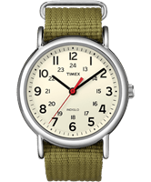 Picture of Weekender Watch - Silver-Tone Case Cream Dial Green Strap