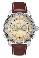 Picture of 45mm Sunray Cream Dial Watch - Cream - Brown