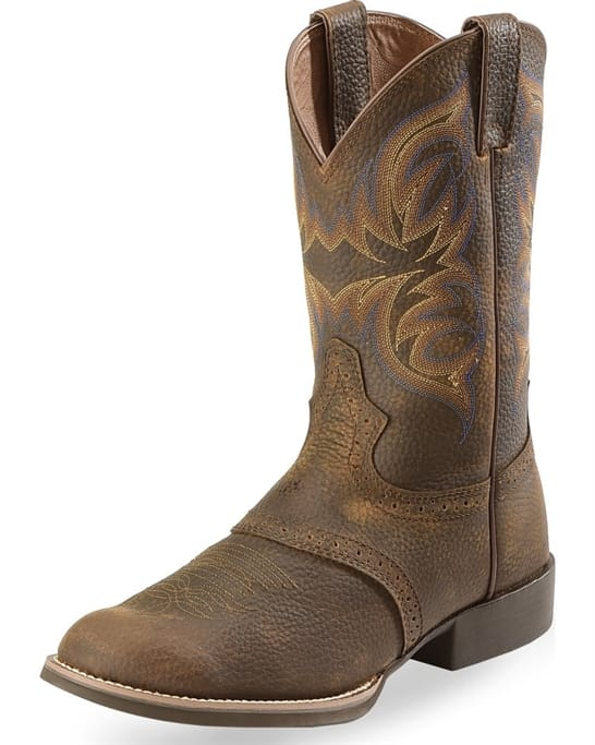 692fd0c11c3 Justin Western Boots - Men's Dark Brown Rawhide with Saddle Boots ...