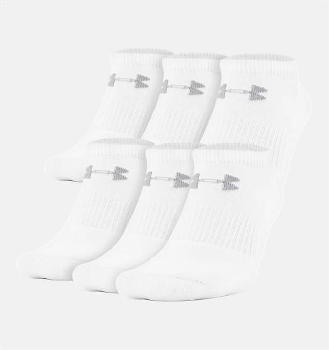 the latest 182a5 059f0 Men s UA Charged Cotton 2.0 No Show Socks - 6 Pack - White - M